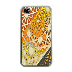 Abstract Starburst Background Wallpaper Of Metal Starburst Decoration With Orange And Yellow Back Apple Iphone 4 Case (clear)