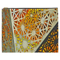 Abstract Starburst Background Wallpaper Of Metal Starburst Decoration With Orange And Yellow Back Cosmetic Bag (xxxl)  by Nexatart