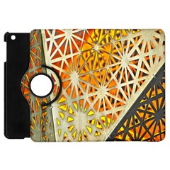 Abstract Starburst Background Wallpaper Of Metal Starburst Decoration With Orange And Yellow Back Apple Ipad Mini Flip 360 Case by Nexatart