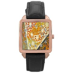Abstract Starburst Background Wallpaper Of Metal Starburst Decoration With Orange And Yellow Back Rose Gold Leather Watch  by Nexatart