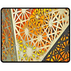 Abstract Starburst Background Wallpaper Of Metal Starburst Decoration With Orange And Yellow Back Double Sided Fleece Blanket (medium)