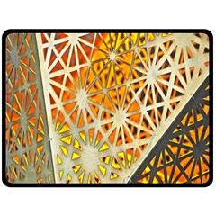 Abstract Starburst Background Wallpaper Of Metal Starburst Decoration With Orange And Yellow Back Double Sided Fleece Blanket (large)  by Nexatart