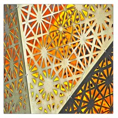 Abstract Starburst Background Wallpaper Of Metal Starburst Decoration With Orange And Yellow Back Large Satin Scarf (Square) by Nexatart
