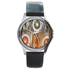 Floral Abstract Pattern Background Round Metal Watch by Nexatart