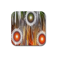 Floral Abstract Pattern Background Rubber Square Coaster (4 Pack)
