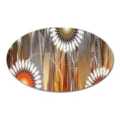 Floral Abstract Pattern Background Oval Magnet