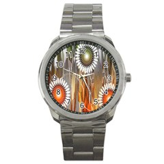Floral Abstract Pattern Background Sport Metal Watch