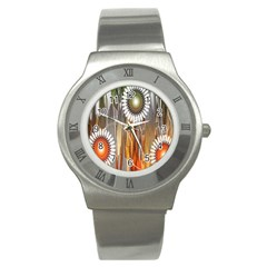 Floral Abstract Pattern Background Stainless Steel Watch by Nexatart