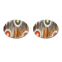 Floral Abstract Pattern Background Cufflinks (oval)