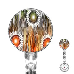 Floral Abstract Pattern Background Stainless Steel Nurses Watch