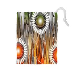 Floral Abstract Pattern Background Drawstring Pouches (large)