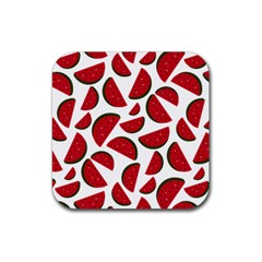 Fruit Watermelon Seamless Pattern Rubber Square Coaster (4 Pack)  by Nexatart