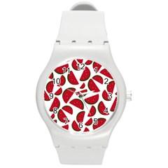 Fruit Watermelon Seamless Pattern Round Plastic Sport Watch (m) by Nexatart