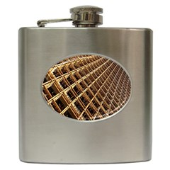 Construction Site Rusty Frames Making A Construction Site Abstract Hip Flask (6 Oz) by Nexatart