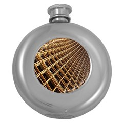 Construction Site Rusty Frames Making A Construction Site Abstract Round Hip Flask (5 Oz) by Nexatart