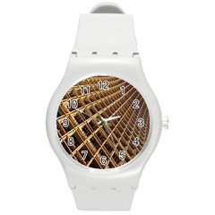 Construction Site Rusty Frames Making A Construction Site Abstract Round Plastic Sport Watch (m) by Nexatart