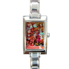 Abstract Fall Trees Saturated With Orange Pink And Turquoise Rectangle Italian Charm Watch by Nexatart