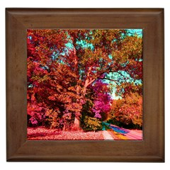 Abstract Fall Trees Saturated With Orange Pink And Turquoise Framed Tiles by Nexatart