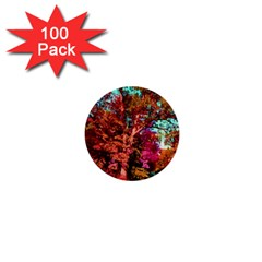 Abstract Fall Trees Saturated With Orange Pink And Turquoise 1  Mini Buttons (100 Pack)  by Nexatart