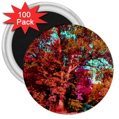 Abstract Fall Trees Saturated With Orange Pink And Turquoise 3  Magnets (100 Pack)