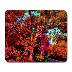 Abstract Fall Trees Saturated With Orange Pink And Turquoise Large Mousepads by Nexatart