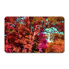 Abstract Fall Trees Saturated With Orange Pink And Turquoise Magnet (rectangular) by Nexatart