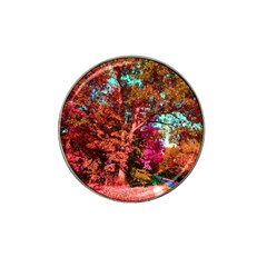 Abstract Fall Trees Saturated With Orange Pink And Turquoise Hat Clip Ball Marker (4 Pack)