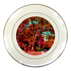 Abstract Fall Trees Saturated With Orange Pink And Turquoise Porcelain Plates by Nexatart