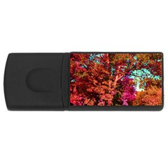 Abstract Fall Trees Saturated With Orange Pink And Turquoise Usb Flash Drive Rectangular (4 Gb) by Nexatart