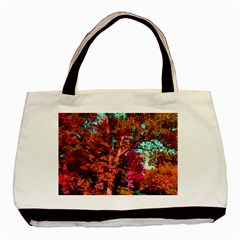 Abstract Fall Trees Saturated With Orange Pink And Turquoise Basic Tote Bag by Nexatart