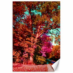 Abstract Fall Trees Saturated With Orange Pink And Turquoise Canvas 20  X 30   by Nexatart