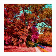 Abstract Fall Trees Saturated With Orange Pink And Turquoise Medium Glasses Cloth (2 Side) by Nexatart