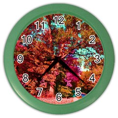 Abstract Fall Trees Saturated With Orange Pink And Turquoise Color Wall Clocks by Nexatart