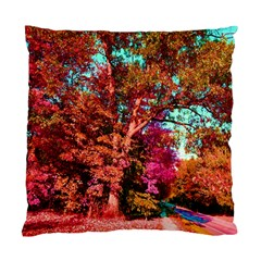 Abstract Fall Trees Saturated With Orange Pink And Turquoise Standard Cushion Case (one Side) by Nexatart