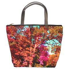 Abstract Fall Trees Saturated With Orange Pink And Turquoise Bucket Bags