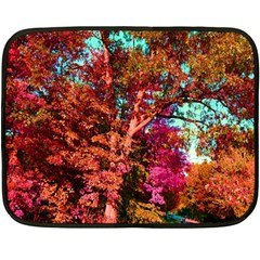 Abstract Fall Trees Saturated With Orange Pink And Turquoise Double Sided Fleece Blanket (mini)  by Nexatart