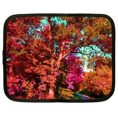 Abstract Fall Trees Saturated With Orange Pink And Turquoise Netbook Case (xxl)