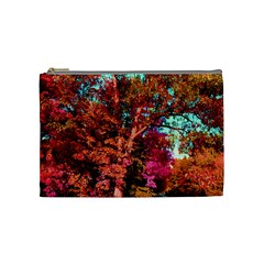 Abstract Fall Trees Saturated With Orange Pink And Turquoise Cosmetic Bag (medium)  by Nexatart