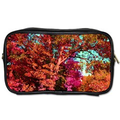 Abstract Fall Trees Saturated With Orange Pink And Turquoise Toiletries Bags 2 Side