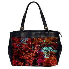 Abstract Fall Trees Saturated With Orange Pink And Turquoise Office Handbags