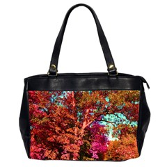 Abstract Fall Trees Saturated With Orange Pink And Turquoise Office Handbags (2 Sides)  by Nexatart