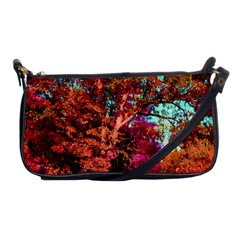 Abstract Fall Trees Saturated With Orange Pink And Turquoise Shoulder Clutch Bags by Nexatart