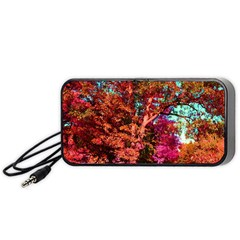 Abstract Fall Trees Saturated With Orange Pink And Turquoise Portable Speaker (black) by Nexatart