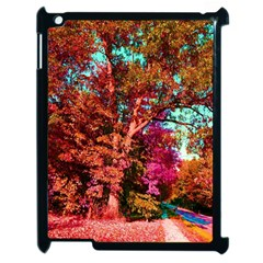 Abstract Fall Trees Saturated With Orange Pink And Turquoise Apple Ipad 2 Case (black)