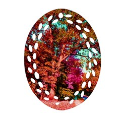 Abstract Fall Trees Saturated With Orange Pink And Turquoise Oval Filigree Ornament (two Sides) by Nexatart