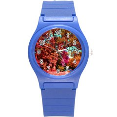 Abstract Fall Trees Saturated With Orange Pink And Turquoise Round Plastic Sport Watch (s) by Nexatart