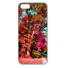 Abstract Fall Trees Saturated With Orange Pink And Turquoise Apple Seamless iPhone 5 Case (Color) by Nexatart