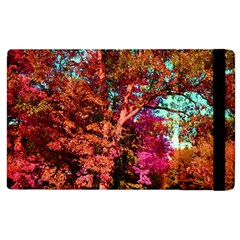 Abstract Fall Trees Saturated With Orange Pink And Turquoise Apple Ipad 3/4 Flip Case by Nexatart