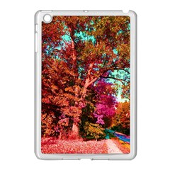 Abstract Fall Trees Saturated With Orange Pink And Turquoise Apple Ipad Mini Case (white) by Nexatart