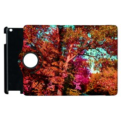 Abstract Fall Trees Saturated With Orange Pink And Turquoise Apple Ipad 2 Flip 360 Case by Nexatart